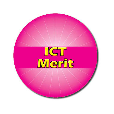 Personalised ICT Merit Stickers - Pink (70 per sheet - 25mm)