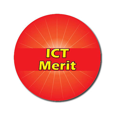 Personalised ICT Merit Stickers - Red (70 per sheet - 25mm)