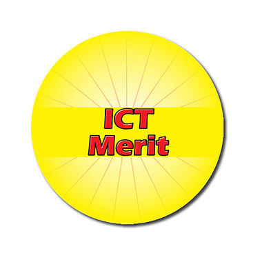 Personalised ICT Merit Stickers - Yellow (70 per sheet - 25mm)