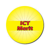 Personalised Yellow ICT Merit 25mm Stickers x 70