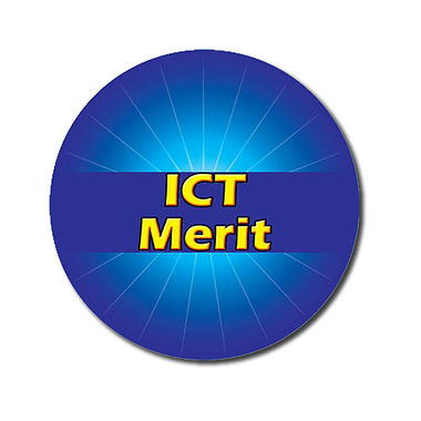 Customised ICT Merit Stickers - Blue (70 per sheet - 25mm)