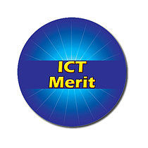 Personalised Blue ICT Merit Strip 25mm Stickers x 70