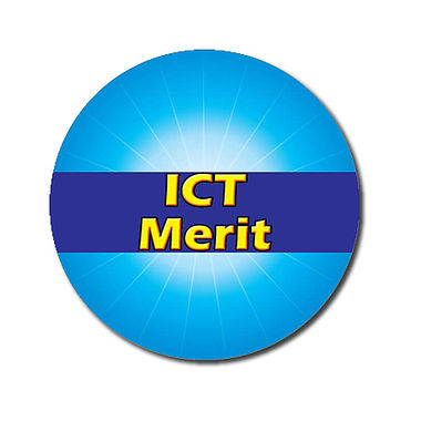 Customised ICT Merit Stickers - Cyan (70 per sheet - 25mm)
