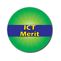 Personalised Green ICT Merit Strip 25mm Stickers x 70