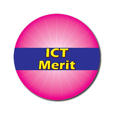 Customised ICT Merit Stickers - Pink (70 per sheet - 25mm)