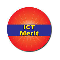 Personalised Red ICT Merit Strip 25mm Stickers x 70