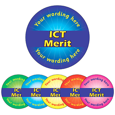 Customised ICT Merit Stickers (70 per sheet - 25mm)