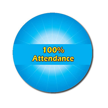 Personalised 100% Attendance Stickers - Cyan (70 per sheet - 25mm)