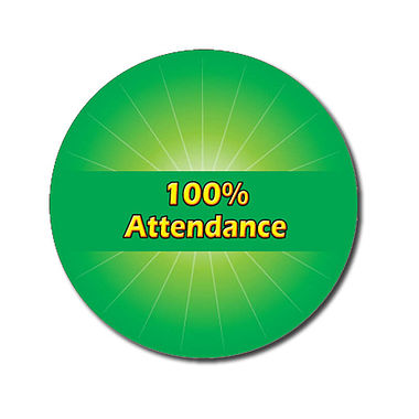 Personalised 100% Attendance Stickers - Green (70 per sheet - 25mm)