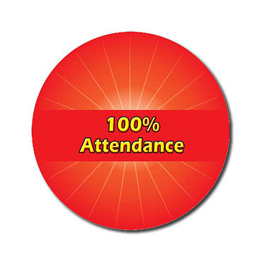 Personalised 100% Attendance Stickers - Red (70 per sheet - 25mm)