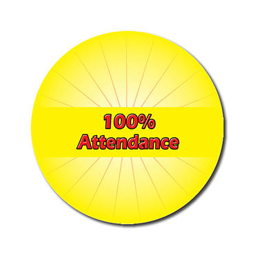 Personalised 100% Attendance Stickers - Yellow (70 per sheet - 25mm)