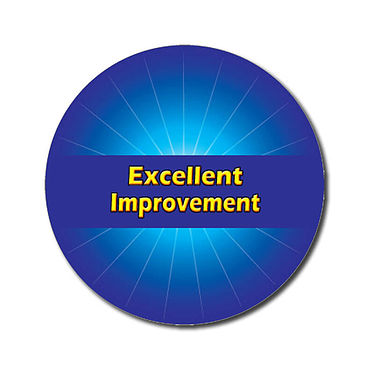 Personalised Excellent Improvement Stickers - Blue (70 per sheet - 25mm)