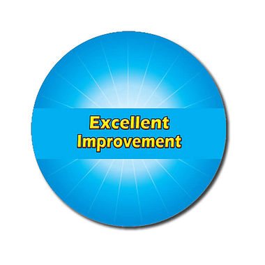 Personalised Excellent Improvement Stickers - Cyan (70 per sheet - 25mm)