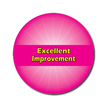 Personalised Excellent Improvement Stickers - Pink (70 per sheet - 25mm)