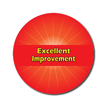 Personalised Excellent Improvement Stickers - Red (70 per sheet - 25mm)