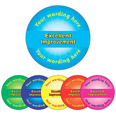 Personalised Excellent Improvement Stickers (70 per sheet - 25mm)