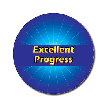 Personalised Excellent Progress Stickers - Blue (70 per sheet - 25mm)