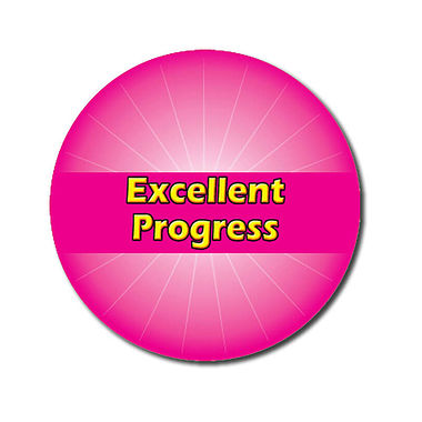 Personalised Excellent Progress Stickers - Pink (70 per sheet - 25mm)