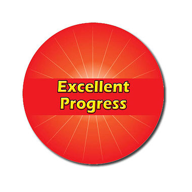 Personalised Excellent Progress Stickers - Red (70 per sheet - 25mm)