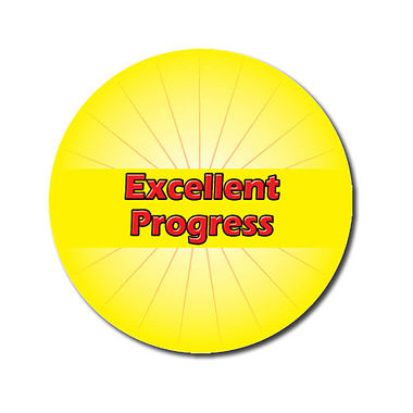 Personalised Excellent Progress Stickers - Yellow (70 per sheet - 25mm)