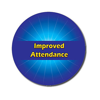 Personalised Improved Attendance Stickers - Blue (70 per sheet - 25mm)