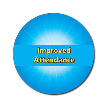 Personalised Improved Attendance Stickers - Cyan (70 per sheet - 25mm)