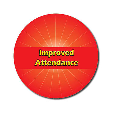 Personalised Improved Attendance Stickers - Red (70 per sheet - 25mm)