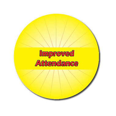 Personalised Improved Attendance Stickers - Yellow (70 per sheet - 25mm)
