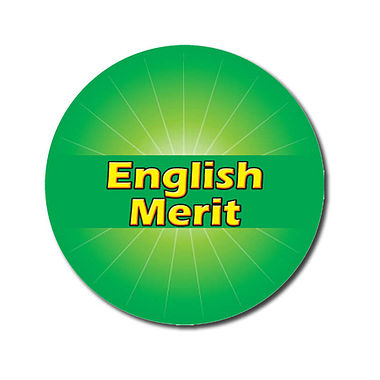 Personalised English Merit Sticker - Green (70 per sheet - 25mm)