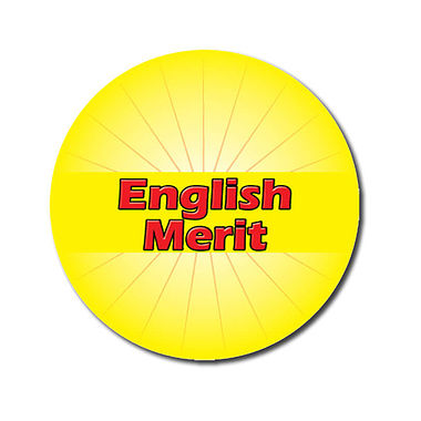 Personalised English Merit Sticker - Yellow (70 per sheet - 25mm)