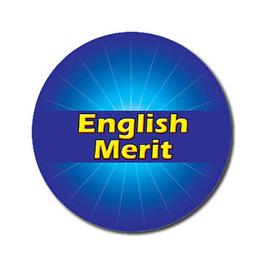 Personalised English Merit Sticker - Blue (70 per sheet - 25mm)