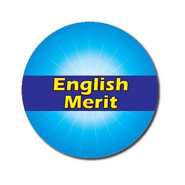 Personalised English Merit Sticker - Cyan (70 per sheet - 25mm)