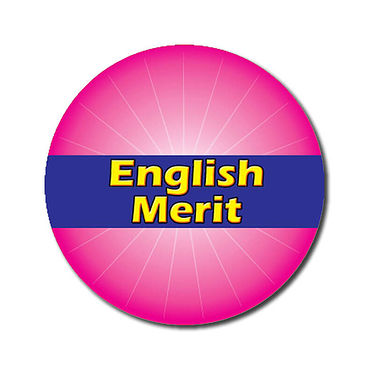 Personalised English Merit Sticker - Pink (70 per sheet - 25mm)