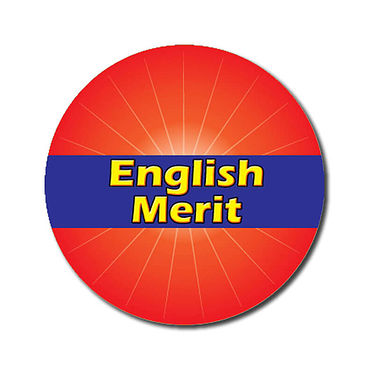Personalised English Merit Sticker - Red (70 per sheet - 25mm)