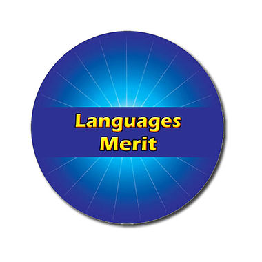 Customised Languages Merit Sticker - Blue (70 per sheet - 25mm)