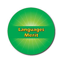 Sheet of 70 Customised Green Languages Merit 25mm Stickers