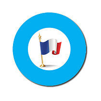 Sheet of 70 Customised Cyan French Flag 25mm Stickers
