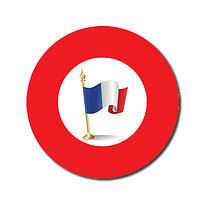Sheet of 70 Customised Red French Flag 25mm Stickers