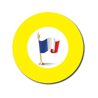 Personalised French Flag Stickers - Yellow (70 per sheet - 25mm)