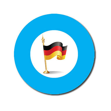 Personalised German Flag Stickers - Cyan (70 per sheet - 25mm)