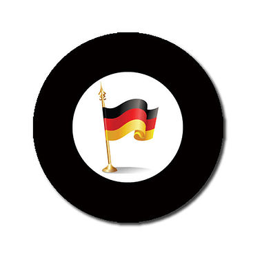 Personalised German Flag Stickers - Black (70 per sheet - 25mm)