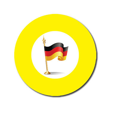 Personalised German Flag Stickers - Yellow (70 per sheet - 25mm)