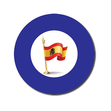 Customised Spanish Flag Stickers - Blue (70 per sheet - 25mm)