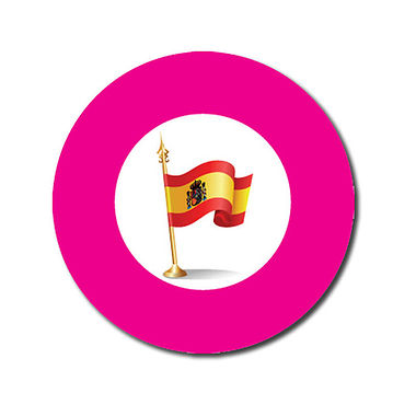 Customised Spanish Flag Stickers - Pink (70 per sheet - 25mm)