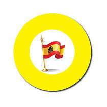 Sheet of 70 Customised Yellow Spanish Flag 25mm Stickers