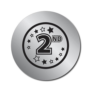 Personalised 2nd Place Metallic Silver Stickers (70 per sheet - 25mm)