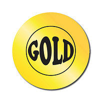 Sheet of 70 Personalised Gold Metallic 25mm Stickers