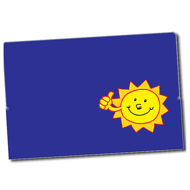 Customised Sun Stickers - Blue (32 per sheet - 46mm x 30mm)