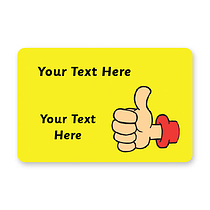 Sheet of 32 Personalised 46mm x 30mm Thumbs Up Stickers