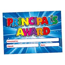 Blue 'Principal's Award' A5 Reward Certificates x 20